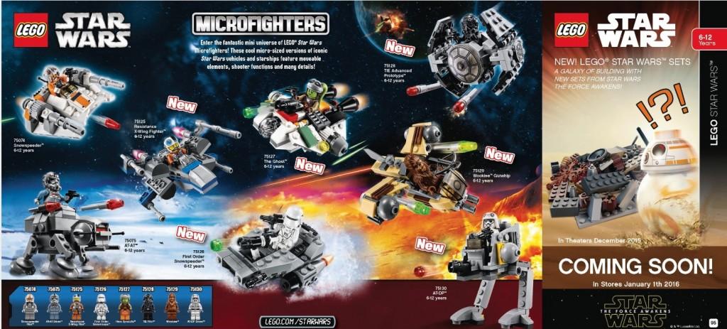 2016 LEGO Star Wars Microfighters 75074 75075 75125 75126 75127 75128 75129 75130 January Catalog