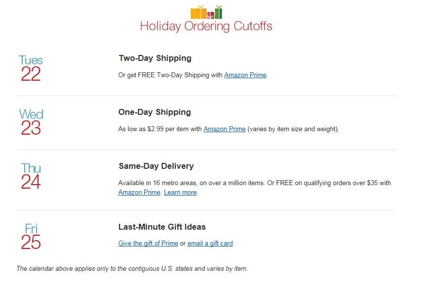 Holiday Shipping Deadline 2015 Amazon Christmas
