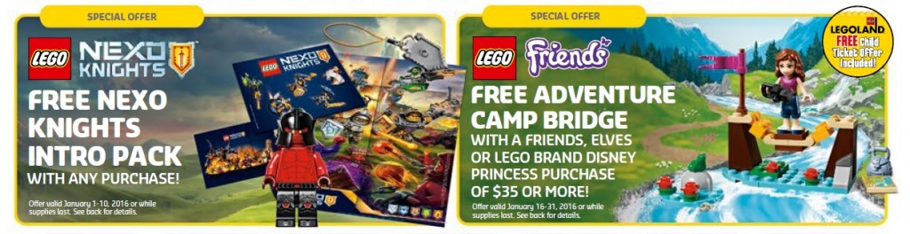 January 2016 LEGO Brand Stores and Shop at Home Promotional Sales Offers