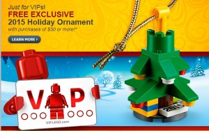 LEGO Holiday Ornament 2015 Exclusive VIP December Promotion