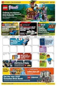 February 2016 LEGO Store Calendar