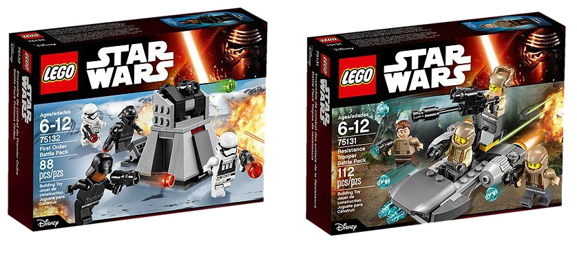 LEGO Star Wars 75132 First Order Battle Pack and 75131 Resistance Trooper Battle Pack