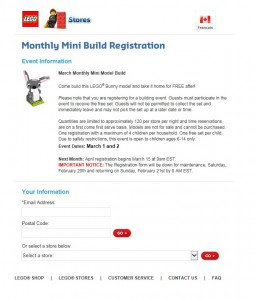 LEGO March 2016 Monthly Mini Model Build Registration Form - Bunny