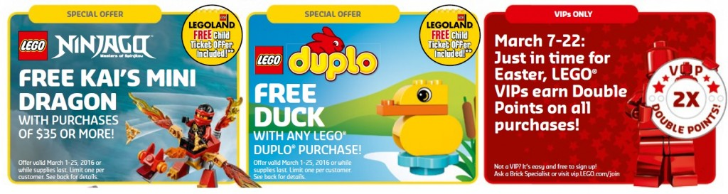 March 2016 LEGO Brand Stores & Shop Offers and Promotions