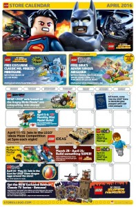 April 2016 LEGO Brand Retail Store Calendar