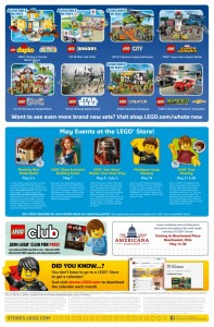 LEGO May 2016 Brand Retail Store Calendar Back