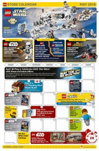 May 2016 LEGO Brand Retail Store Calendar