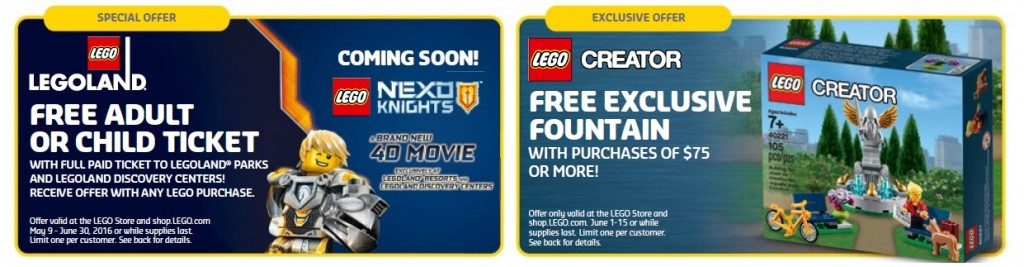 June 2016 LEGO Brand Retail Store Calendar Offers and Promotions