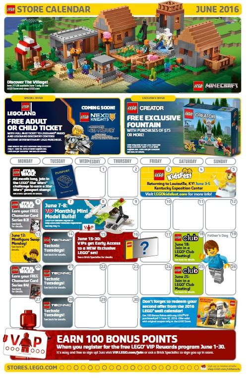 LEGO Brand Retail Store Calendar June 2016
