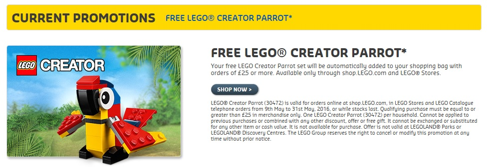 LEGO Creator Parrot 30472 UK and Europe 2016 May Promotion