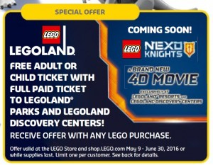 LEGOLand Ticket May and June 2016 Offer