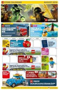 August 2016 LEGO Brand Retail Store Calendar