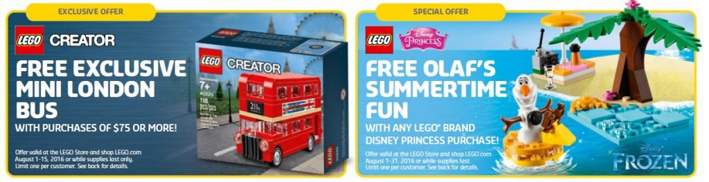 August 2016 LEGO Store Shop Promotions and Sales