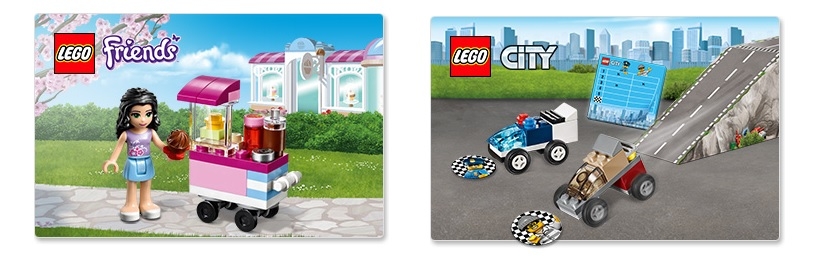 LEGO Friends Cupcake Stall 30396, LEGO City Police Chase Race 5004404 August UK 2016 Promotion