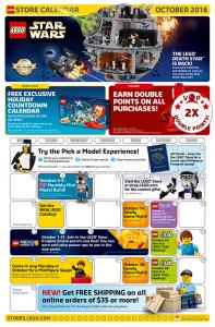 October 2016 LEGO Brand Retail Store Calendar