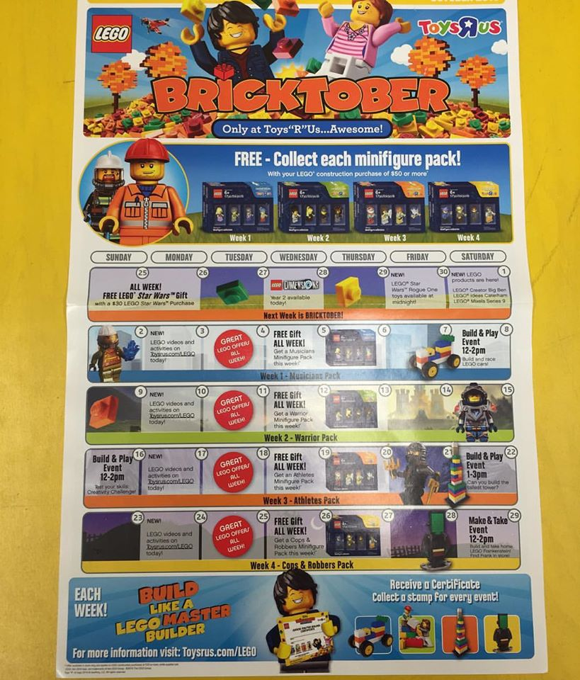 LEGO Bricktober ToysRUs 2016 USA Calendar & Promotions