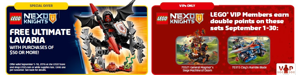 September 2016 LEGO Shop and Store Promotions and Sales