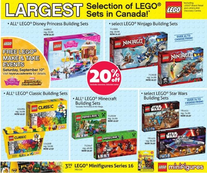 ToysRUs Canada LEGO Sale September Labor Day 2016 - Toysnbricks
