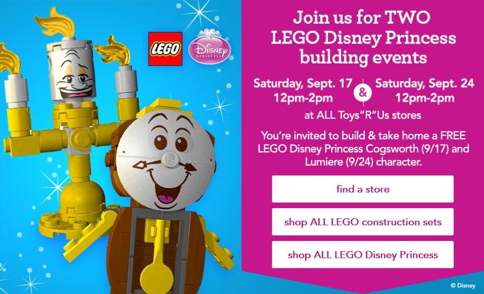 ToysRUs USA 2016 LEGO Disney Princess Cogsworth and Lumiere Building Event September