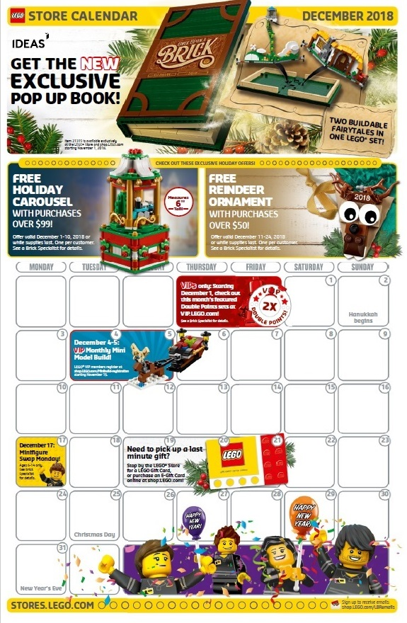 the december 2018 lego brand retail store calendar is now available next month lego will be offering two free gift promotions