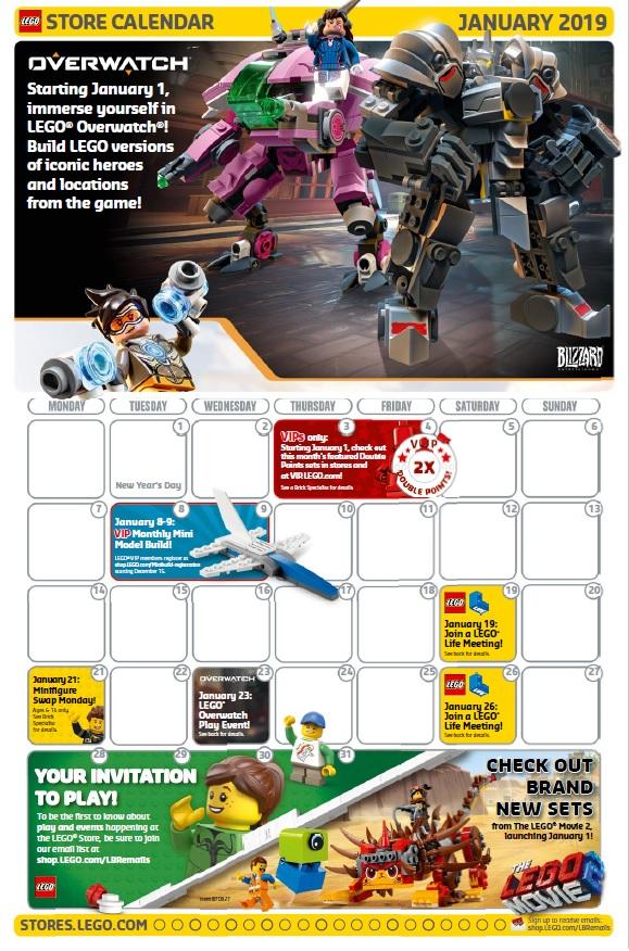 January 2019 lego brand retail store calendar toys n bricks for Lago outlet arredamento
