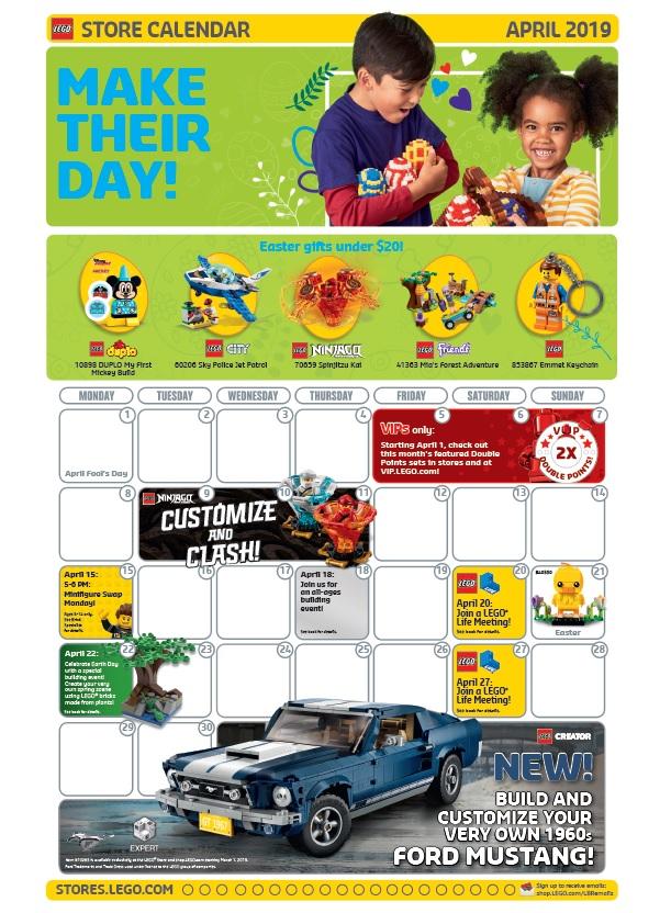 April 2019 LEGO Brand Retail Store Calendar – Toys N Bricks