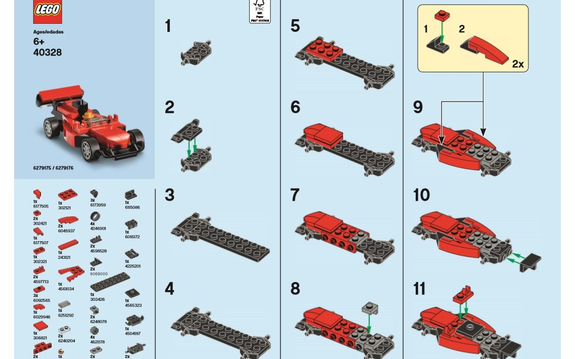 August 2019 Monthly Mini Model Build Instructions LEGO Race Car